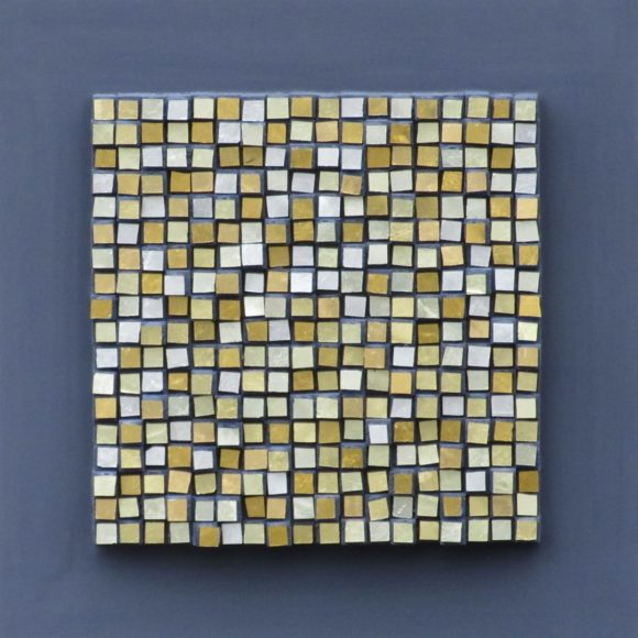 Composizione Oro e Legno Piccola 2 -Orsoni gold leaf smalti- wood- Mozaïekatelier Colorito-Natasja Mulder
