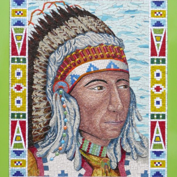 Indian Chief-Orsoni smalti-mixed media-Mozaïekatelier Colorito-Natasja Mulder