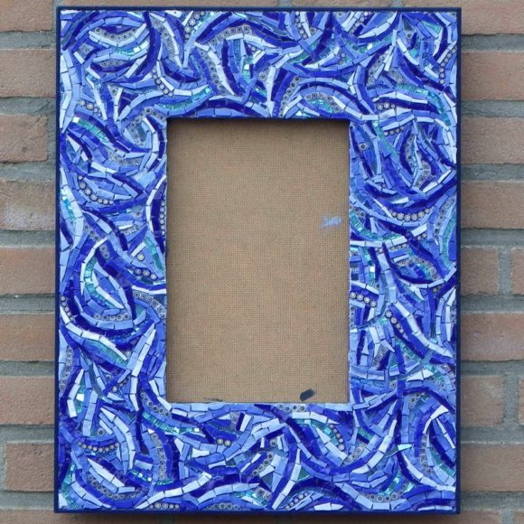 Mirror Blue Wavy-mirror-spiegel-Mozaïekatelier Colorito-Natasja Mulder