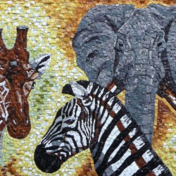 giraffe-zebra-olifant- Orsoni smalti- Mozaïekatelier Colorito-Natasja Mulder