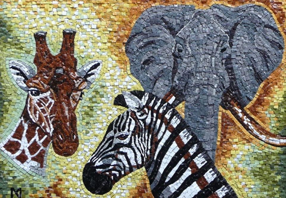 Giraffe, Zebra en Olifant