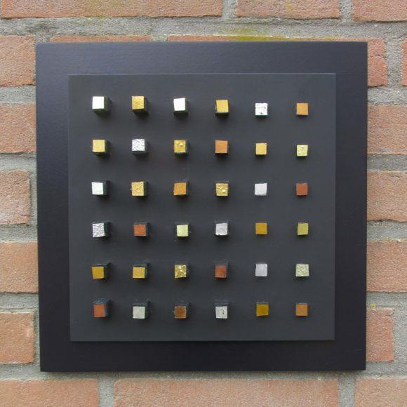 Composizione Oro e Legno - 30x30- nr1- Mozaïekatelier Colorito-Natasja M