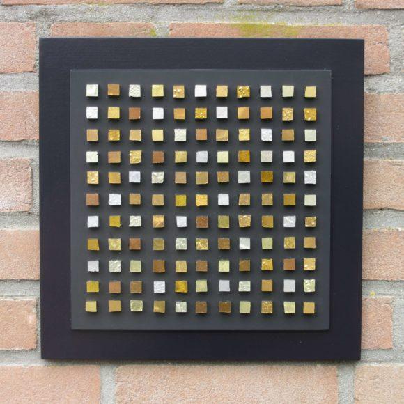 Composizione Oro e Legno - 30x30- nr5- Mozaïekatelier Colorito-Natasja